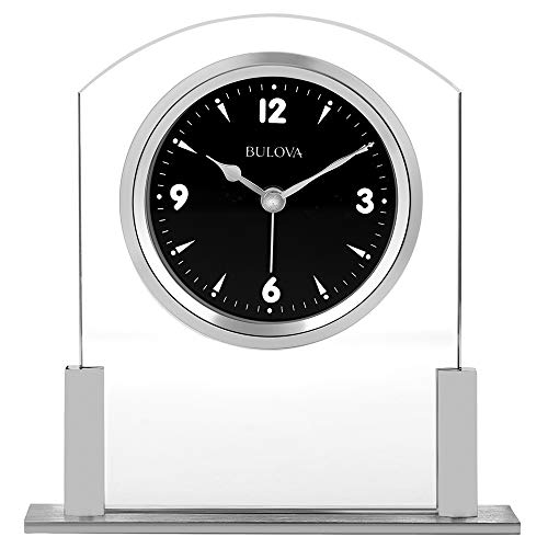 Bulova B5022 Newton Table Clock, Polished Silver-Tone Finish