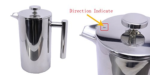 -[ Meelio French Press Coffee Maker,Double Wall 18/8 Stainless Steel Heat Resistant Tea or Cafetier