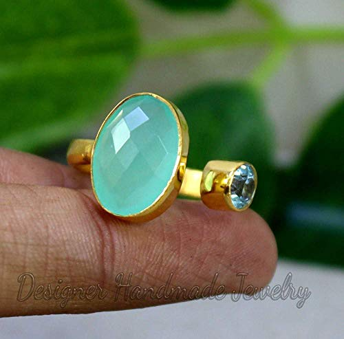 18K Yellow Gold Chalcedony Ring Jewelry Unique gift Jewelry 18K Rose Gold Natural Aqua Chalcedony Gemstone 925 Sterling Silver Ring