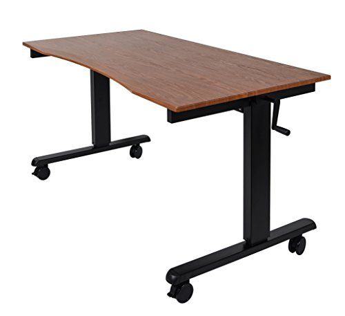 60' Adjustable Height Stand Up Desk with Comfort Curved Edge (60', Black Frame / Teak Top)