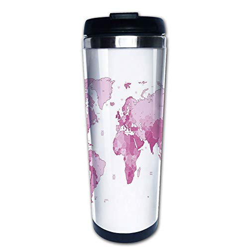 Stainless Steel Insulated Coffee Travel Mug,Continents Island Land Pacific Atlas Europe America,Spill Proof Flip Lid Insulated Coffee cup Keeps Hot or Cold 13.6oz(400 ml) Customizable ()