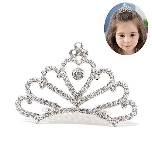 Honbay Little Girls Princess Tiara Comb, Flower Girls Crystal Rhinestone Crown Hair Comb Hair ()