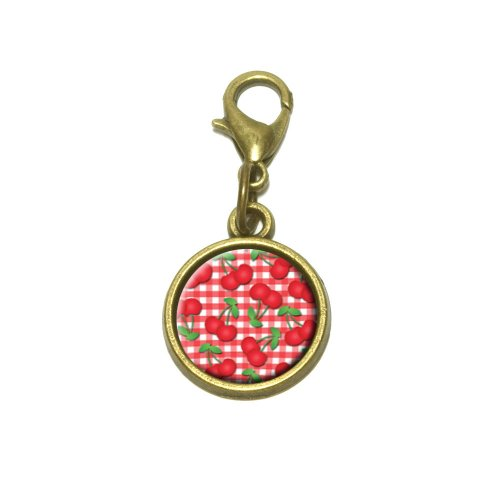Cherries Pattern Red Checkered Cute Bracelet Pendant Charm