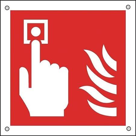 100 X 100mm Fire Alarm Call Point Symbol Aluminium Safety Sign