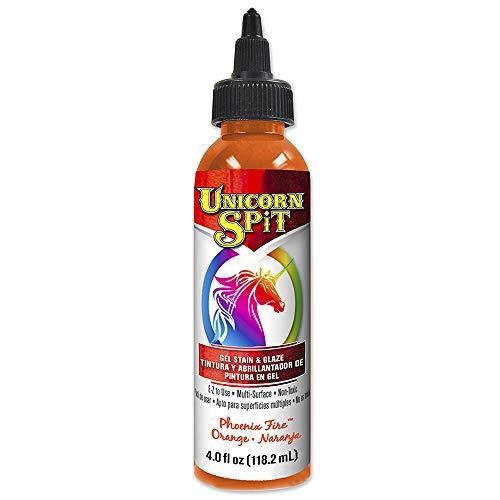 Unicorn SPiT 5770003 Gel Stain and Glaze, Phoenix Fire 4.0 FL OZ Bottle, Orange