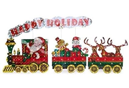winter wonder lane santa happy holidays light up holographic train christmas yard display 3 piece set