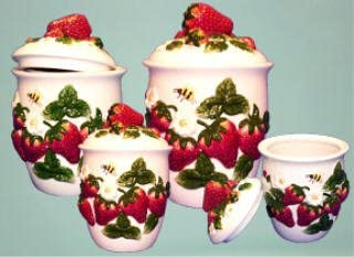 Amazon Com Strawberry Kitchen Canister Set 4 Strawberries Decor Food Storage Canisters Coffee Tea Sugar Cookies Flour Countertop Counter Top Pieces Accessories Fruit Themed Fruity Theme Home Dispensers Sets