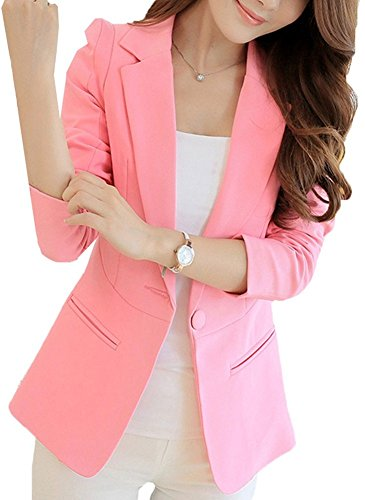HaoMing Fashion Casual Work Blazer Office Jacket Lightweight for Women and Juniors #3 Pink L