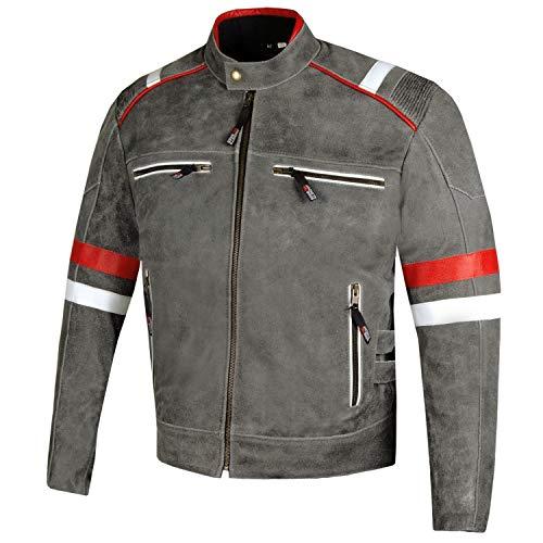 Men's Freedom Vintage Distress Cowhide Leather Biker Armor Motorcycle Jacket L (Biker Cowhide Jacket Leather)