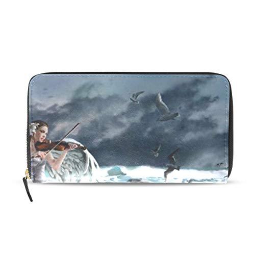 Womens Wallets Sad Song Mare Ocean Angel Leather Passport Wallet Coin Purse Girls Handbags ()