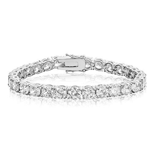 Cubic Zirconia Tennis Bracelet Round Cut 6mm Rhodium Plated Brass 8 inch Hypoallergenic for Women