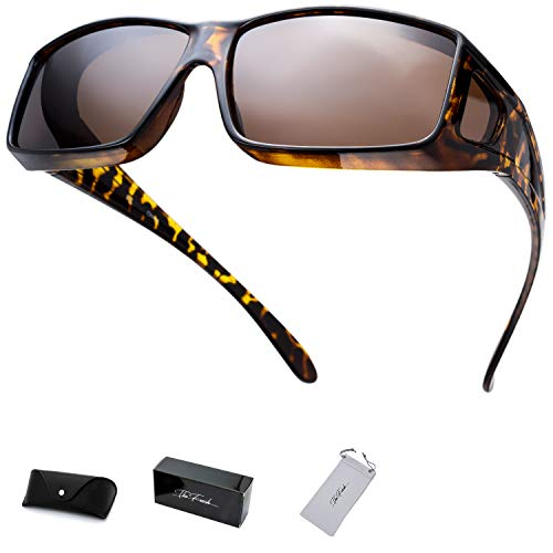 (The Fresh High Definition Polarized Wrap Around Shield Sunglasses for Prescription Glasses - Gift Box Package (702-Tortoise, Brown(Including side lens)))