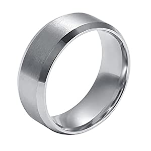 Ameesi 8mm Men's Women's Fashion Titanium Steel Polished Band Ring Wedding Jewelry