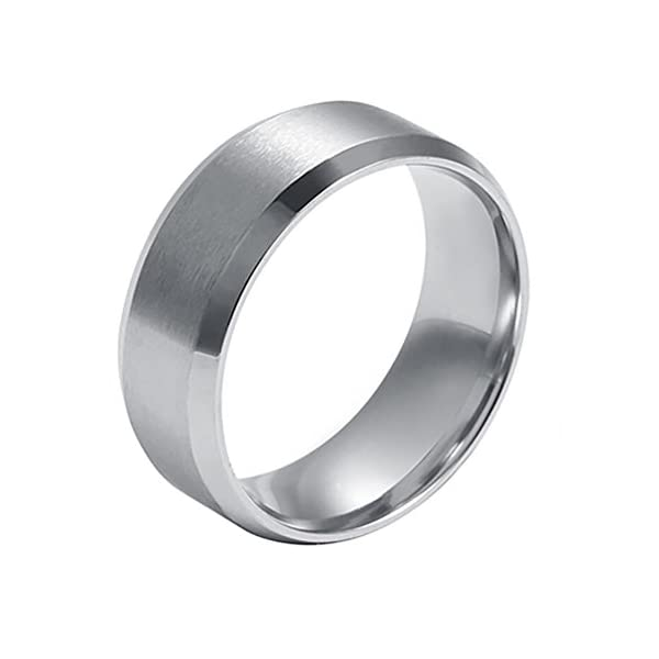 Ameesi 8mm Men's Women's Fashion Titanium Steel Polished Band Ring Wedding Jewelry