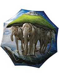 LA BELLA UMBRELLA Elephants Designer Unique Travel Art Umbrella in Stylish Gift Box – Automatic/Manual/Stick