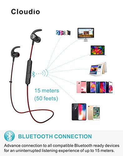 Cloudio S1 Bluetooth Sports in-Ear Headphones Best Wireless Stereo Earbuds Magnet IPX7 Sweatproof Bath Shower Swimming Waterproof Earphones Mic Running Workout 9 Hrs Noise Cancelling Headsets by Cloudio (Image #2)