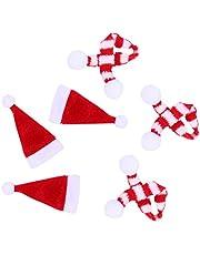 HEALLILY 20 Pcs Small Santa Hats Mini Santa Hat Lollipop Bottle Candy Cover Cap for Christmas Party Decor Doll Handy Crafts