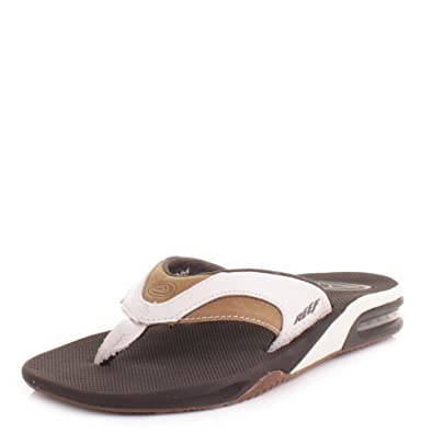 f030694a7ae40c Mens Reef Leather Fanning White Brown Flip Flops SIZE 8  Amazon.co.uk  Shoes    Bags