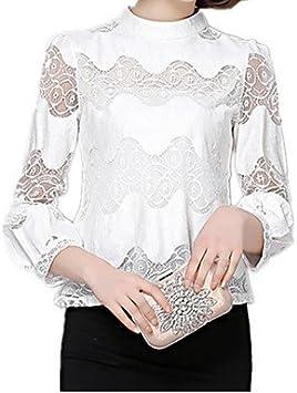 Mujer Camisas y blusas de mujer cuello camiseta de manga farol OL Trabajo Casual Blusa De Encaje Gasa, color Blanco - blanco, tamaño L: Amazon.es: Deportes y aire libre