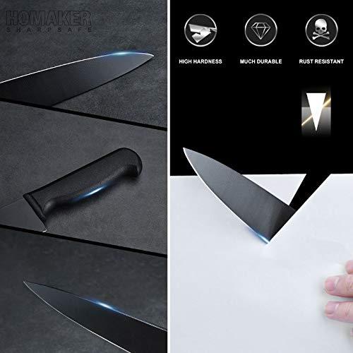 Homaker Knife Set, Black Kitchen Knife Set with High Carbon Stainless Steel Ultra Sharp Chef Knives Set, Bread Knife, Boning Knife, Paring Knife by HOMAKER (Image #5)