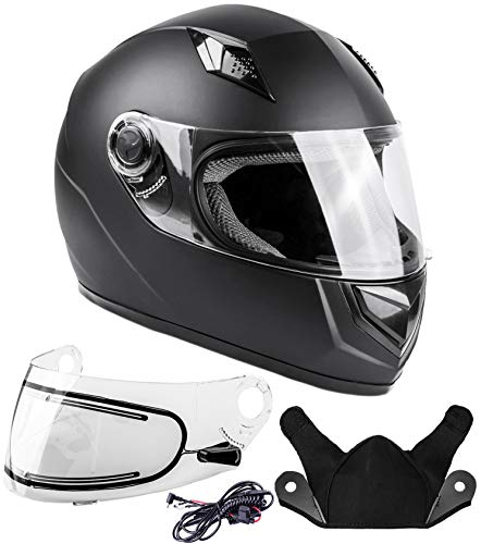 Typhoon Helmets Adult Full Face Snowmobile Winter Helmet With Heated Face Shield DOT (Matte Black, Large)