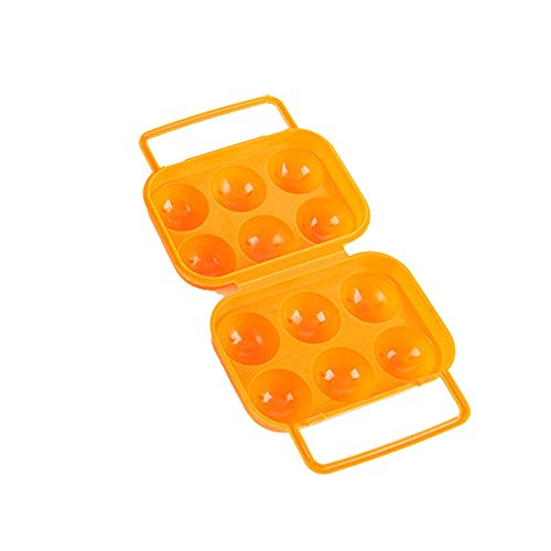 Tuscom Holder Folding 6 Eggs Portable Egg Storage Box Handle Case-6.1x5.9x2.7 inch (Orange) by Tuscom@ (Image #1)