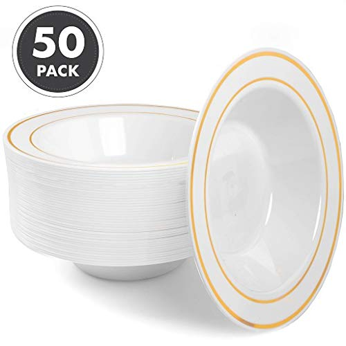 12oz Plastic Bowls Set of 50 - White Gold Rim 12 oz Disposable Bowl Pack