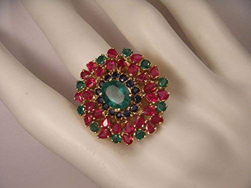 Magnigicent Estate 22K 18K Yellow Gold Ruby Emerald Sapphire Ring