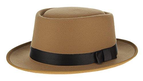 Gemvie Men Plain Roll -Up Wool Felt Porkpie Fedora Hat (Wool Felt Pork Pie Hat)