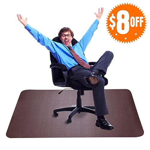 Brown Office Chair Mat for Hardwood Floors - Best Desks Chair Mat with 35x47 Inches Straight Edge, Thick and Sturdy Under Computer Desk Pad and Floor Protector for Home & Office Use (Cherry Desk Chair)