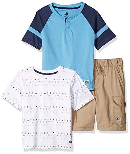 (Beverly Hills Polo Club Boys' Toddler 3 Piece Short Set, Khaki Print, 3T)