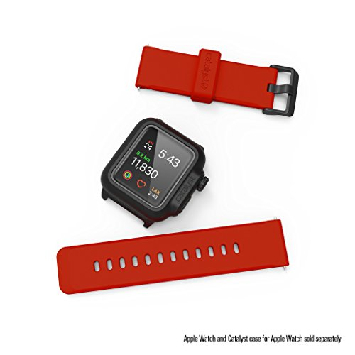 Apple Watch Case Silicone Band (24mm) by Catalyst - 42mm Apple iWatch Series 3, 2 & 1 and The 44mm Series 4[Stainless Steel Buckle, Soft Yet Resistant iWatch Wristbands/Strap], Red Hot