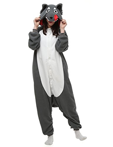 [Belle House Grey Wolf Adult Anime Unisex Pyjamas Halloween Onesie Costume AC029] (Unisex Halloween Costumes)