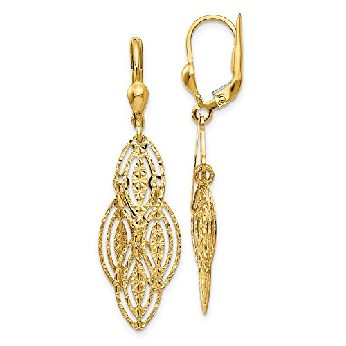 14k Yellow Gold Textured Drop Dangle Chandelier Leverback Earrings Lever Back Fine Jewelry Gifts For Women For Her