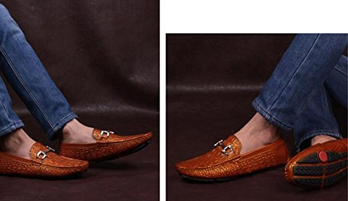 Happyshop (tm) Krokodil Läder Casual Slip-on Loafers Moccasin Mens Affärer Skor Brun