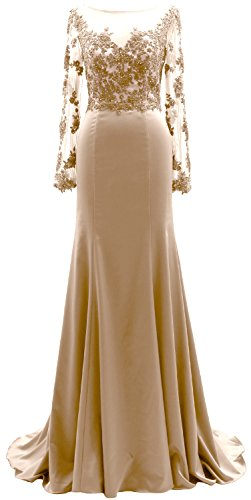 Lace Champagner the Illusion Gown Mother Long Sleeves Women of Evening MACloth Dress Bride qwnTzW