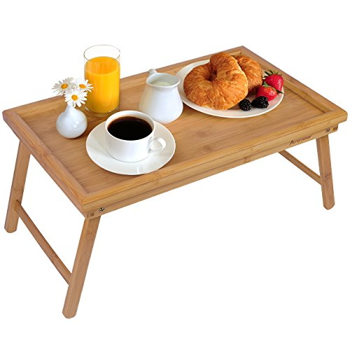 (Bed Tray Table with Folding Legs,Serving Breakfast in Bed or Use As a TV Table, Laptop Computer Tray, Snack Tray with 100% Natural Bamboo by Artmeer )