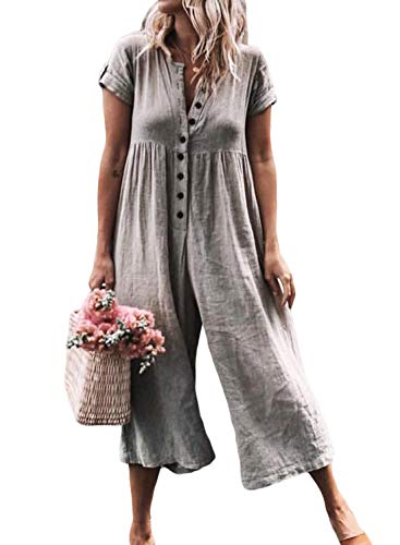 (ZKESS Women Casual Button Down Short Sleeve Solid Wide Leg Jumpsuit Romper Loose Long Pants S-XL Grey S 4 6)