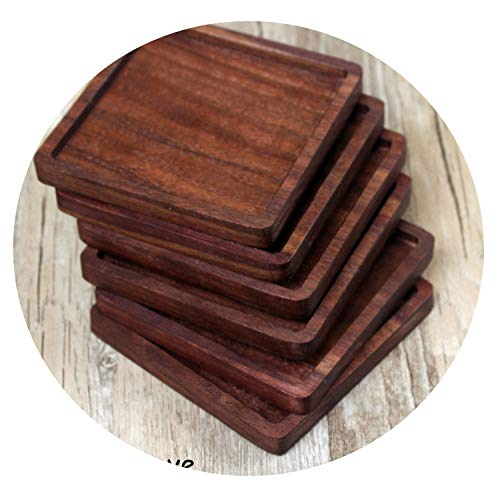 1 Pcs Durable Walnut Wood Coasters Placemats Decor Square Round Heat Resistant Drink Mat Home Table Tea Coffee Cup Pad,square groove
