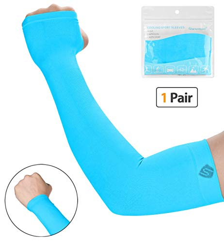 SHINYMOD UV Protection Cooling or Warmer Arm Sleeves for Men Women Kids Sunblock Protective Gloves Running Golf Cycling Driving 1 Pair/ 3 Pairs/ 5 Pairs Long Tattoo Cover Arm Warmer-Sky Blue