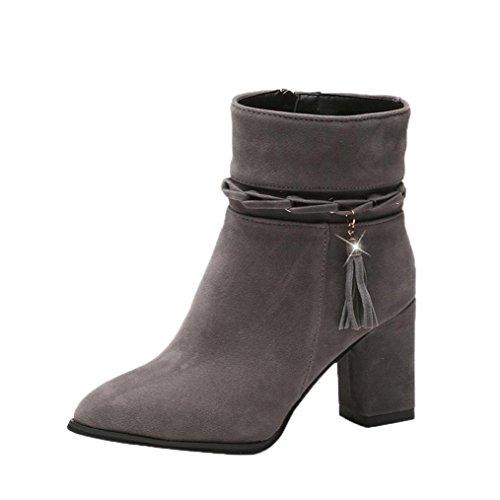 Elevin (tm) 2017women Vinter Höst Hög Klack Boots Kort Plysch Spetsig Tå Boots Klackar Skor Grå