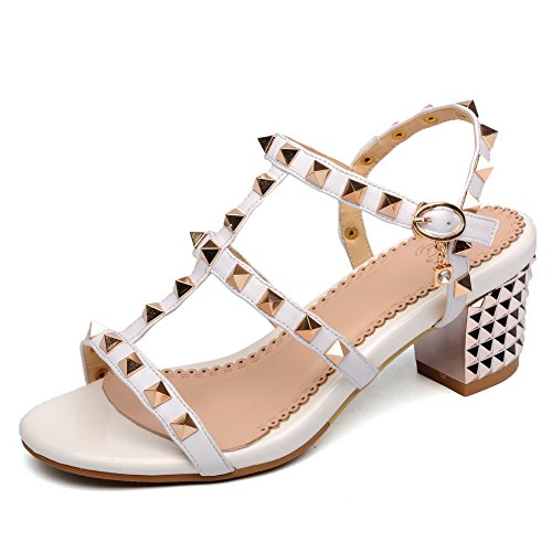 AllhqFashion Womens Soft Material Open Toe Kitten Heels Buckle Solid Sandals White 14TdESPF