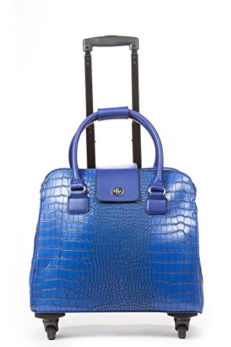 Hang Accessories Crocodile Rolling Carry On Trolley Bag - Wheeled travel, work, and weekend tote - Blue Crocodile Travel Bag