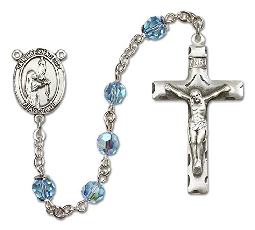 St. Bernadette Rosary in Sterling Silver with March Light Blue Swarovski Crystal Beads