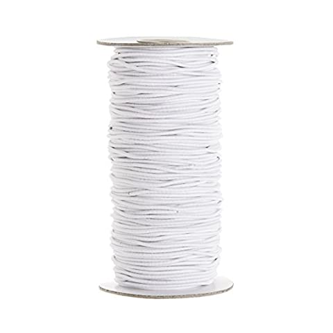 2Mm Wide, 5 Metre Long - White Elastic Ribbon For Sewing And Crafts - Spool Of Elastic Flat Band For Clothing - Stretchy Cord For Skirts And Trousers Waistbands