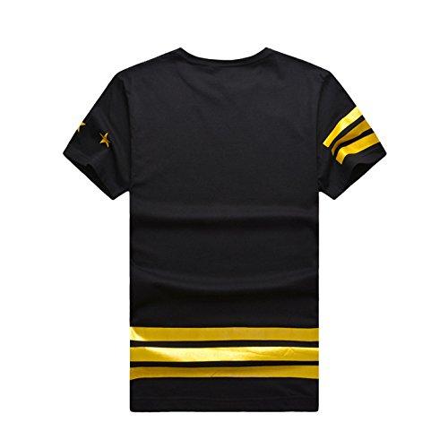 TM Men's Hip-Hop Golden Digital Pattern Short Sleeve T-Shirt Top Tee L Black