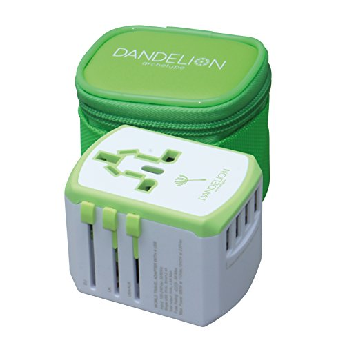 Travel adapter Outlet adapter travel accessory with 4 USB ports Universal Charger (UK, US, AU, Europe & Asia) International Power Plug Adaptor with 8amp fuse makes a great travel gift by Dandelion Archetype