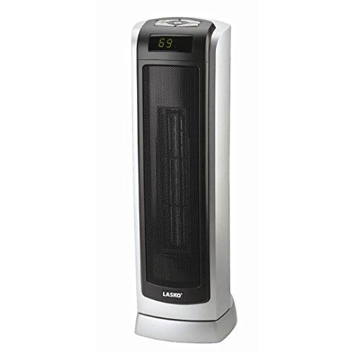 Lasko Electric Oscillating Ceramic 1500W Tower Heater, Black/Silver, 5521