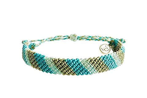 Pura Vida Flat Braided Blue Dream Bracelet - Handcrafted with Gold-Coated Copper Charm - Wax-Coated, 100% - Navy Water Resistant Bracelet