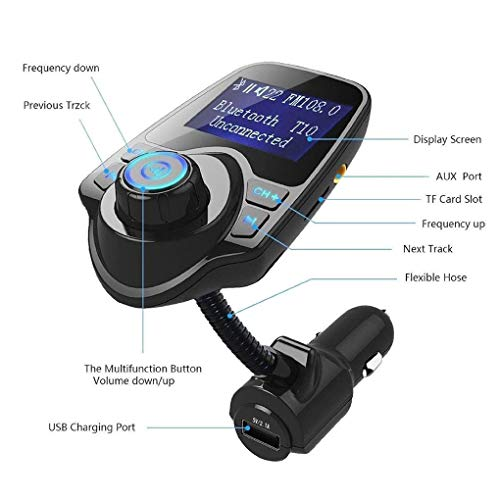 T10 Wireless in-Car Bluetooth FM Transmitter Radio Adapter with 1.44 Inch Display USB Car Charger for iPhone for Samsung (Iphone Radio Car Adapter)